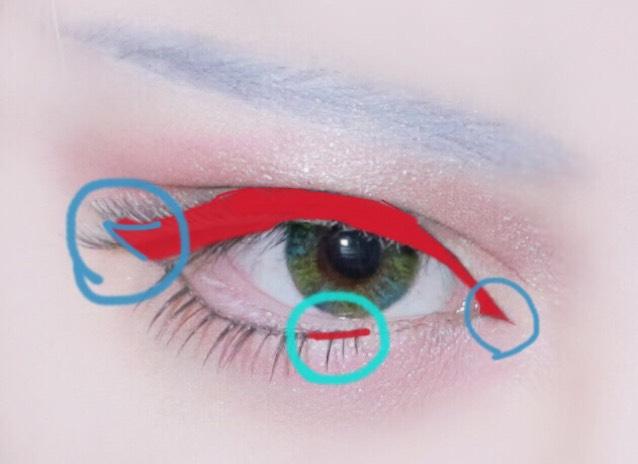 アイライン 赤部分をブラウンのアイライナーで書きます 青丸部分は鋭く書くとシャープさが増してかっこいいです 水色丸部分は薄めに引きましょう