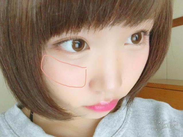 鼻の横から始め、 頬骨より少し高めに 斜めに塗る