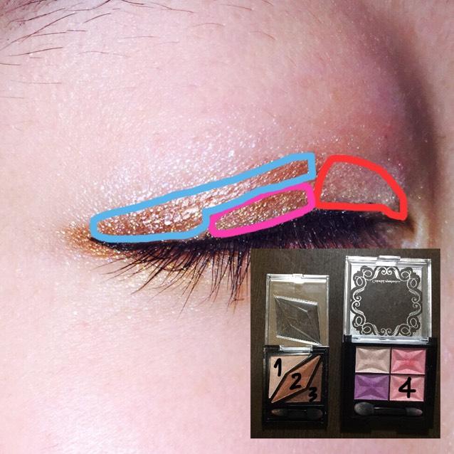 まぶた全体に薄いピンクを塗ります。  1を赤の目頭らへんを塗ります。 2をピンクの二重幅の真ん中より少ししたらへんを塗ります。 3を水色の目頭少しと二重幅に塗ります。
