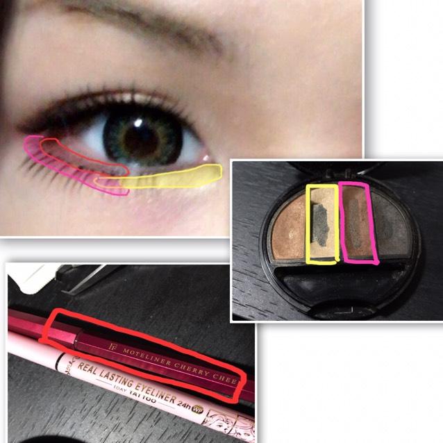 下瞼目尻ピンクの部分に薄くシャドウを入れて 黄色の部分にハイライトを入れたら 赤の所にライナーをタレ目意識して色が薄めなので結構ガッツリ入れます