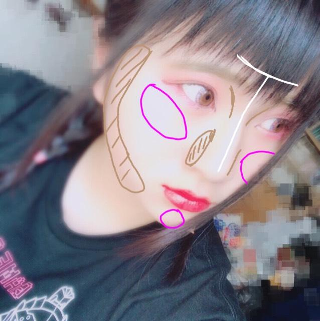 白→ハイライト ピンク→チーク 茶色→シューティング  チークは薄めに横長に!