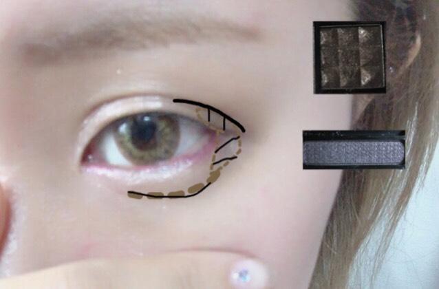 茶色の線に濃いブラウン(上)を目尻側上〜目尻側下、涙袋の線を描くように繋げて塗っていきます 黒のアイシャドウ(下)をダブルラインを描くように目尻側の二重線に沿って塗り、次にさっき塗った濃いブラウンの上に重ね塗っていきます ※濃いメイクが苦手な方は黒のアイシャドウの工程は省いて大丈夫です