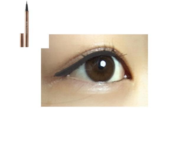 ビューラーであげてマスカラを塗った後に、黒目の上からまつげの隙間を埋めてき 目尻はスッと流すように~