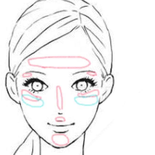ハイライト(ドーリーウインク クリームアイシャドウ)を赤で囲った部分にスポンジで叩き込みます  鼻筋は一番凹んだ所から塗ってます。