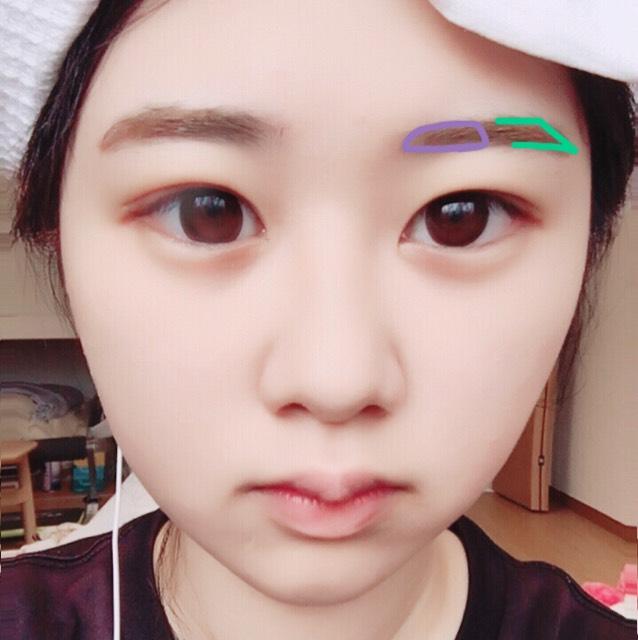 まず眉ペンシルで眉尻を書き足します。(緑色) 次に眉マスカラ1の明るめの色を全体に塗ります。 そして眉マスカラ2の濃い茶色いを眉頭~真ん中にかけて塗ります。(紫色)