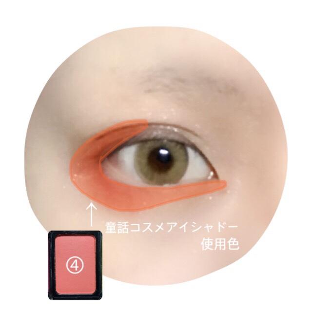 グレーテルイメージのオレンジカラーを画像のように乗せる。 上瞼の目尻側半分から下瞼まで囲うように。 下瞼目尻側は広めに、目頭側は涙袋に入れた黄色の半分の幅くらいに。