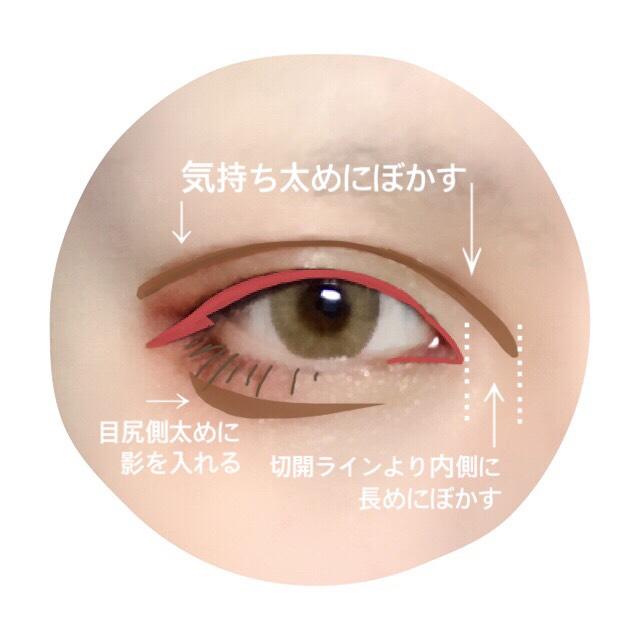 ダブルラインをブラウンシャドーで全体的にボカして陰影を付ける。 涙袋の影を入れる。 この二つの工程を画像に記したポイントに重点を置いてやると目元にかなり立体感が出ます。