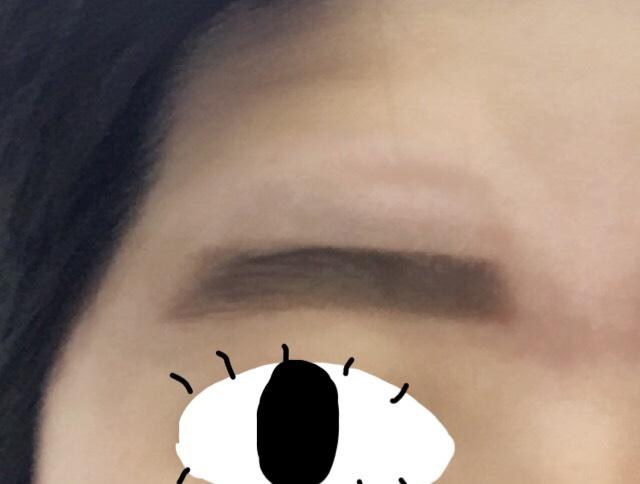 2時間後。 ゆっくりと眉ティントを剥がしていったら、ちゃんと染まっています。