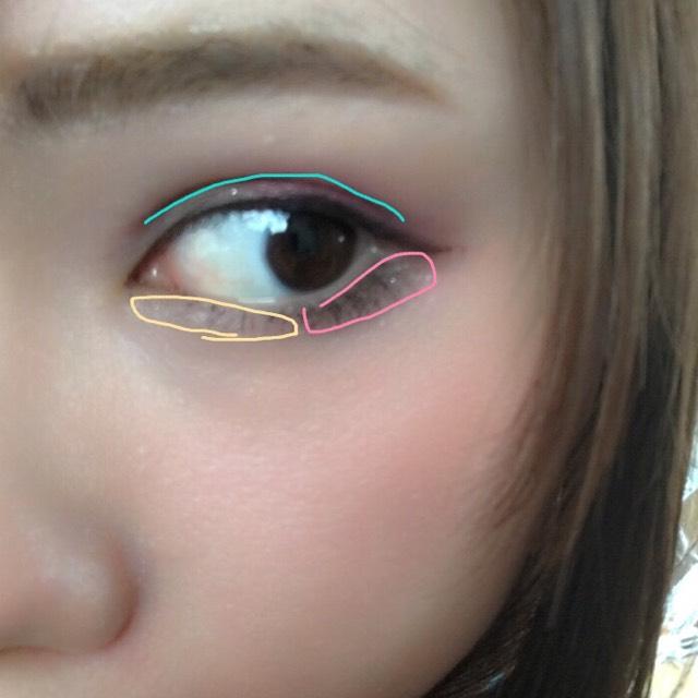 黄色部分にルナソルの左下、ピンクの部分にアナスイのチークです、 ここもピンクは濃いめに入れます! 水色部分はブラウンのペンシルアイライナーで薄くダブルラインをかきます。 これで2重が強調されるのでナチュラルメイクでも眼力がでます☆