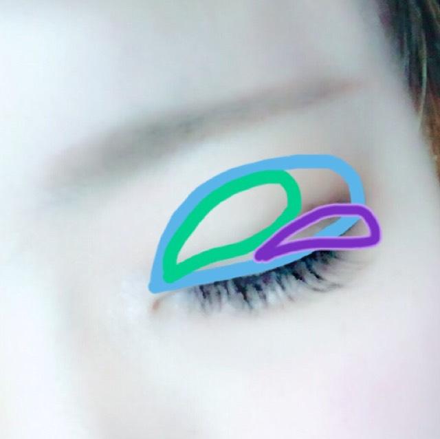 目を閉じてるときはこんな感じになるように塗ります