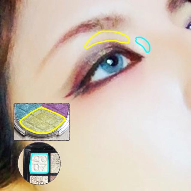 イエローシャドウ ☞眉と瞼のシャドウの間にブラシで入れる。  ハイライトシャドウ ☞鼻筋と瞼の境目(くぼみ)に少し乗せる。 範囲はちょっとでいいです。