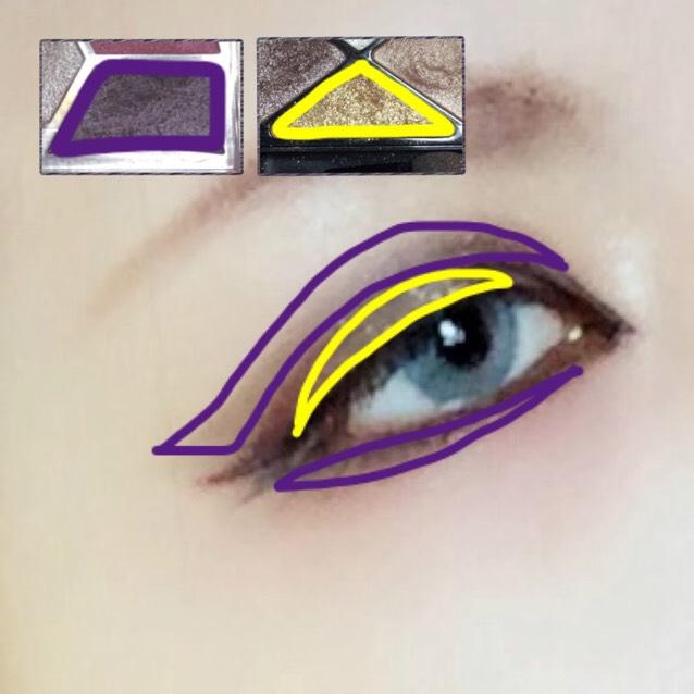 濃い紫シャドウ(お好み) ☞二重ライン上に色を重ね、アイラインの流れで目尻まで跳ね上げる。 ここで濃さを調節して下さい。  ゴールドシャドウ ☞二重幅全体に乗せる。 この二色は混ざらないようにして下さいね。