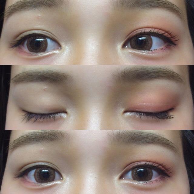 眉毛は極力元の黒色を眉マスカラで消す! 比較するためにこちら側から見て右目だけメイクしてます!
