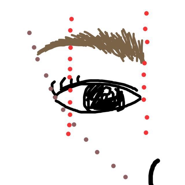 その次に眉毛を書いていきます。ポイントは眉頭は目頭の真上、眉山は外側の白目の半分、眉尻は小鼻と目尻の延長線上です。 パウダーを眉山から眉頭に置いていき、眉の真ん中が一番濃くなるようにします。眉頭が一番濃いときつい顔の印象になりやすいので注意が必要です。KATEのラスティングデザインアイブロウのペンシルのほうで眉尻をかきます。