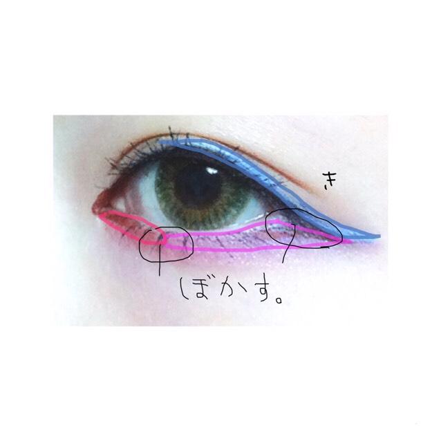 発色を良くするために、アイシャドウベース推奨します〜  細い筆で二種類の青のアイシャドウを混ぜ、写真のようにアイラインを太めにひきます 目尻一センチオーバー目安です  下まぶたは目尻側にピンク、目頭側に赤  いずれも色の境目はぼかしてください グラデーションになります