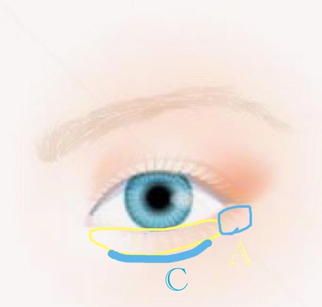 そして涙袋にAの白をのしていきます! 私の場合は黒目の下をより濃く白色をぬっています! そうすることで目元を明るくしてくれるとおもいます!