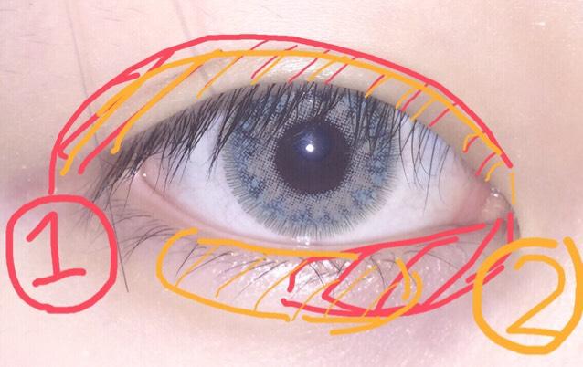 1、2番はアイホール全体に 後目頭と中間辺りもやります (目尻の所はやらずに)