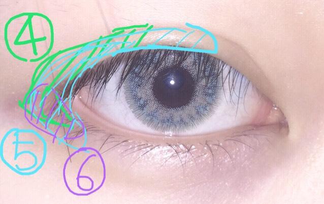 そして4.5.6番は目尻中心 濃くなり過ぎないように色を調整しながらやっていきます