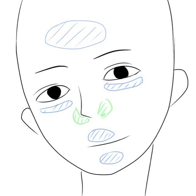 まず1番のコンシーラー 青/緑の両面使って 画像のように塗っていきます