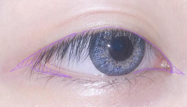 目尻はリキッドアイライナーで『く』の字になる感じで書きます  目頭の粘膜も書き 切開ラインはペンシルアイライナーで書くのがいいです (リキッドは先端が鋭くなってしまうのでペンシルで丸くチョンッと付けるぐらい)