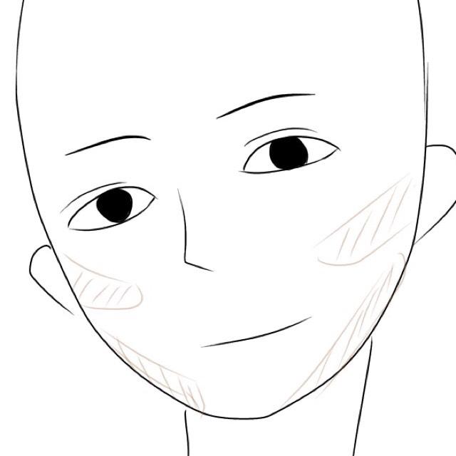 2番は茶色だけ使って 頬側をメイクブラシでシェーティングしていきます