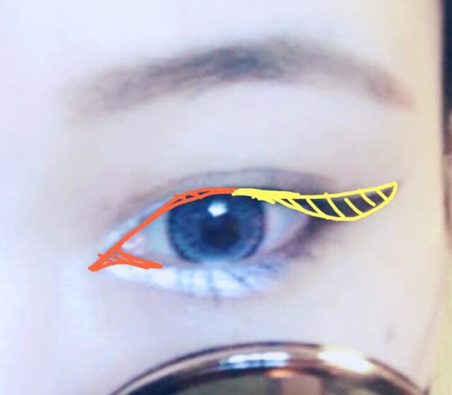 一番要のアイラインです。目尻の黄色の枠から書いてください。イメージとしては三角を各書くメージです。 目頭側わ切開ラインと目尻のラインをつなげるイメージで。