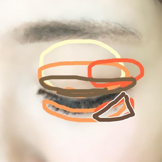 下瞼目尻に濃いブラウン