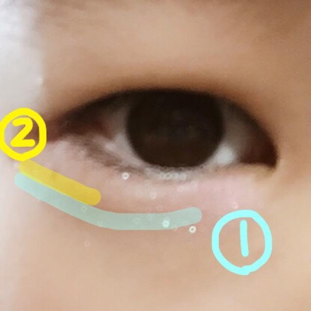 右下のブラウンを指に取り、最初に①のように黒目の内側から目尻まで伸ばす。 そして②。黒目の一番外側から目尻まで①に重ねるように乗せる。