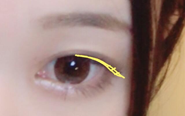 アイラインは中央から目尻にかけてのみ引きます。 タレ目になるよう跳ねあげず、目の形を縁取るようにひいてください。
