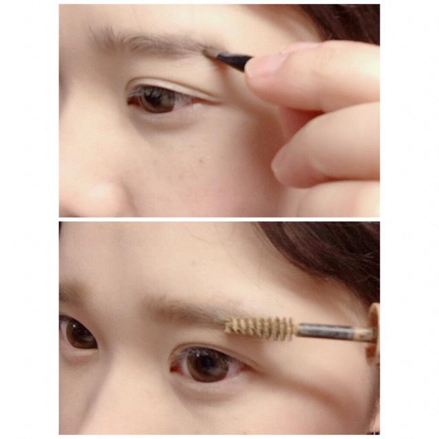 太いブラシで眉尻→真ん中→眉頭の順で書き、マスカラを地肌につけないように塗ります