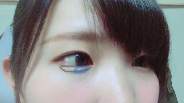 1をグレーで囲んだところ下瞼3分の2に、2を青で囲んだところに。 2は目頭から5ミリほど離れたところから黒目の3分の1程度のところに乗せるとうるうるな瞳になります  アイブロウパウダーの真ん中の色で涙袋の影を描きます