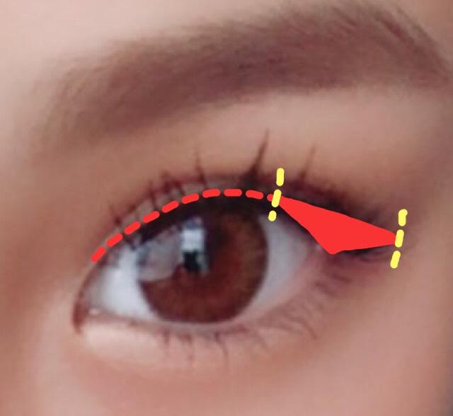 赤い点線部分に細めにまつげの間もしっかり埋めてアイラインを引いていきます。目尻は延長線になる様に6ミリほど引いていきます。この時目の形がアーチ状になるように意識すると完成した時に綺麗です。