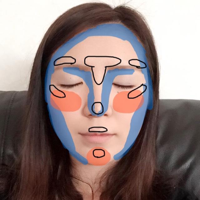ベースメイクをした後に シェーディング(青) チーク(オレンジ) ハイライト(黒) で顔を仕上げます。