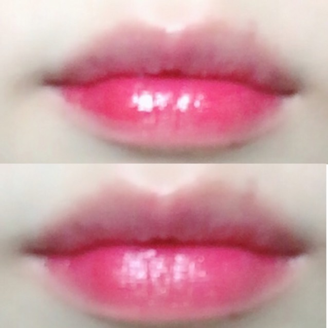 まず、ベースにリップクリームを塗ったらペラペラ ティントウォーター3を下唇の内側にのせて、外側に馴染ませます!!
