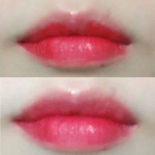 そしたら、ロレアルのティントカレスB06を下唇にしっかり塗らず淵をぼかしながら塗ります!上唇は中心の部分を避けて写真のように塗ります!!そんでぼかす!!