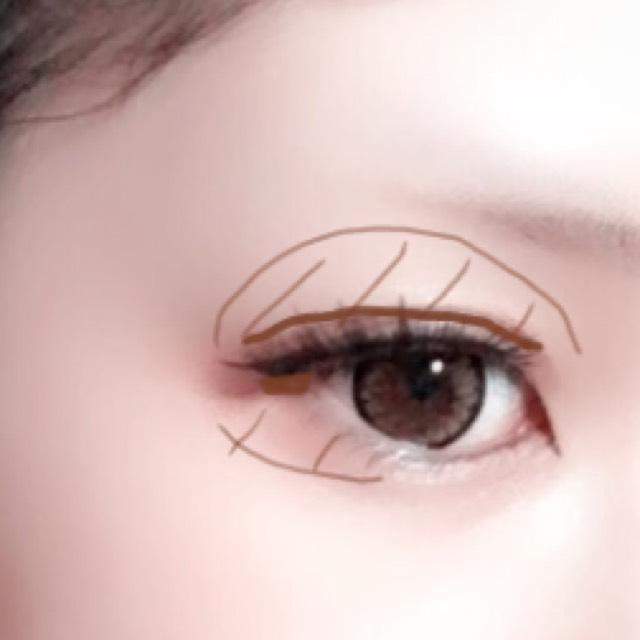 瞼全体にKATEのパレットの一番上の色をばーっと塗り、二重のラインにそって、真ん中右の1番暗い色で影をつけます