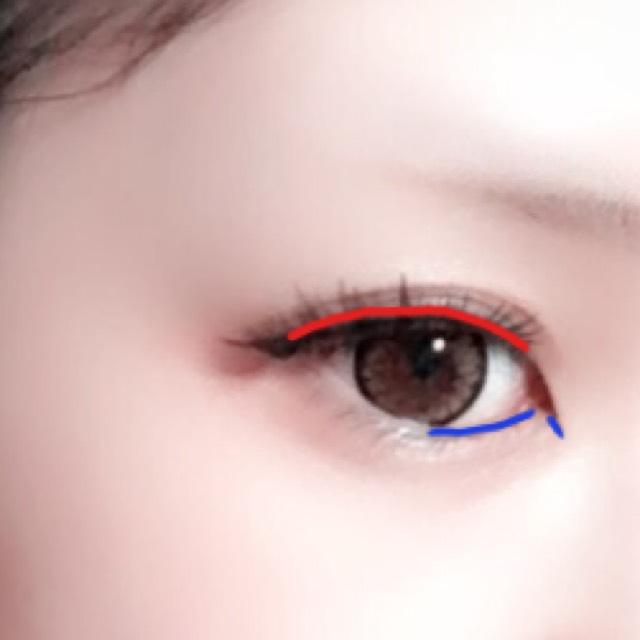 赤いラインに沿ってアイライナーで隙間を埋め、青いラインに沿って切開ラインと目頭から真ん中あたりまで下のラインを引きます 目尻はお好みではね上げたり下げたり