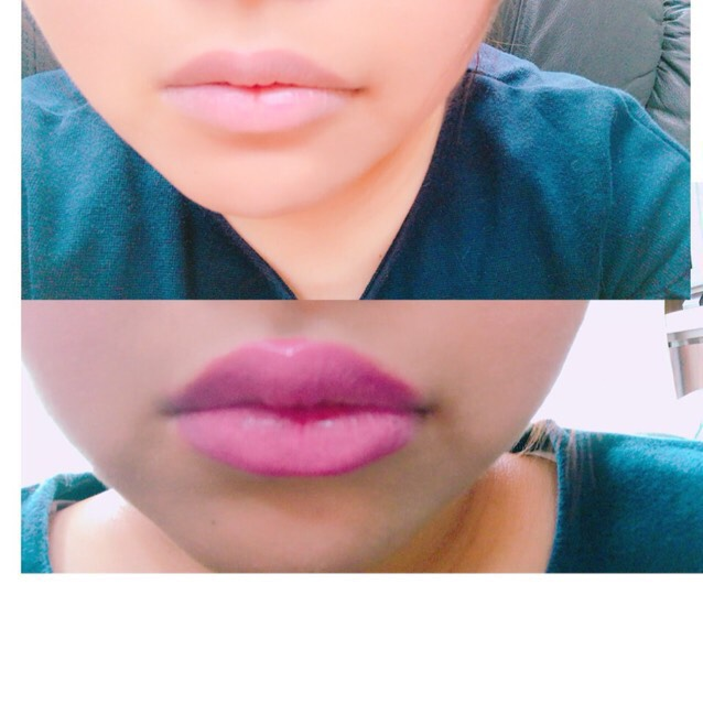 コンシーラーで唇の色を消したらリップを塗ります。 少しオーバー気味に塗ります。 リップはキャンメイクのステイオンバームルージュのT03です。
