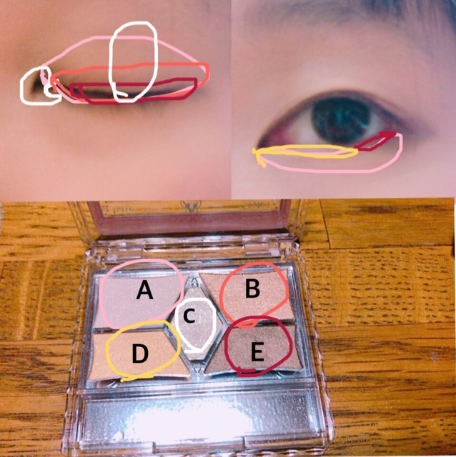 Dを下瞼の黒目の終わりまで細めに入れる Eを上瞼に細めに入れる。下瞼は黒目の終わり〜目尻に細めに入れる