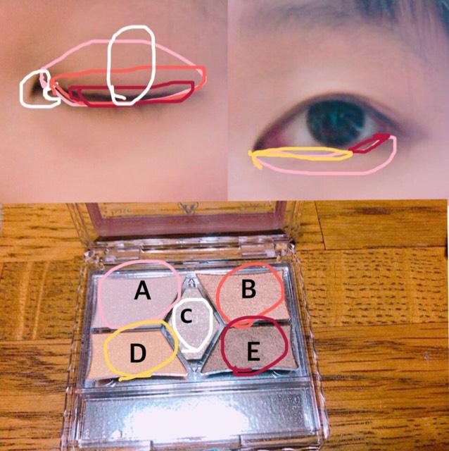 Aを上瞼全体と下瞼の涙袋の部分に入れる Bを二重幅より少し広めに塗る Cを目頭のところにくの字に入れる、上瞼の黒目の上の部分に入れる