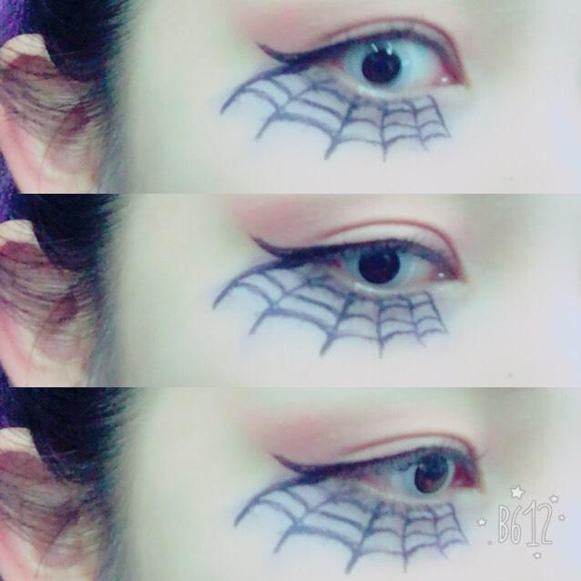 縦ライン→先が細くなるように! 目尻側の方を長くして 目頭側に行くごとに短く  横ライン→カーブさせて蜘蛛の巣っぽくしてます!  上瞼に赤シャドウ クマっぽくみえるように 下瞼に紫(赤1:青2)を塗ってます!