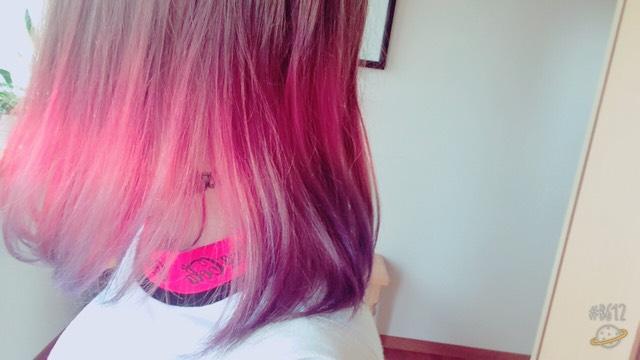 赤を改めて入れて、青を毛先に入れました。 綺麗なグラデーションになってくれました。