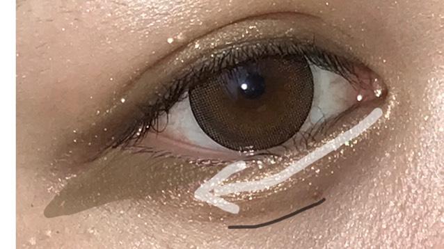 涙袋 影を眉ペンを使って黒目下に書きます。 そしたらKATEの一番左のカラーを矢印の方向に向かって入れます。 アイシャドウ KATEの一番左のカラーをアイホール全体に塗ったあと、左から3番目のカラーを目の際に細く濃いめにいれてアイテープに被るくらいまでしっかりぼかしまて、目尻側の方が濃ゆくなるようにグラデーションにします。 目尻は地面と平行になるように三角にカラーを入れます。