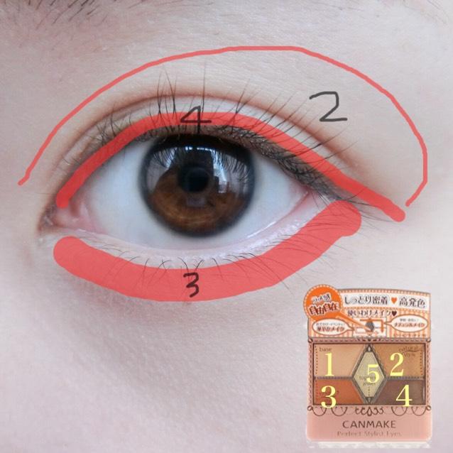 次はアイメイク 今回はキャンメイクのパーフェクトスタイリストアイズ サニーブラウン を使っていきます︎︎☺︎ 1は上まぶた全体に塗ります(眉毛ギリギリまで) 5は3下の涙袋と2に重ねるように塗ります。