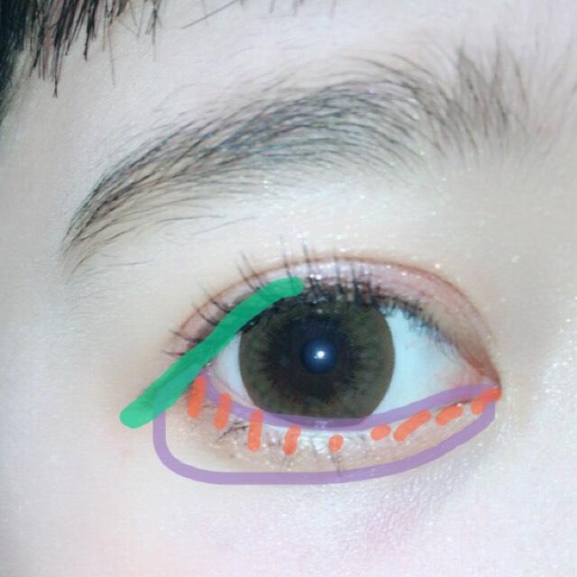 目尻の部分をブラウンのリキッドで書きます。 まずオレンジでベースの涙袋を書きキワにポンポンと赤のシャドウを塗ります そしてマスカラをします