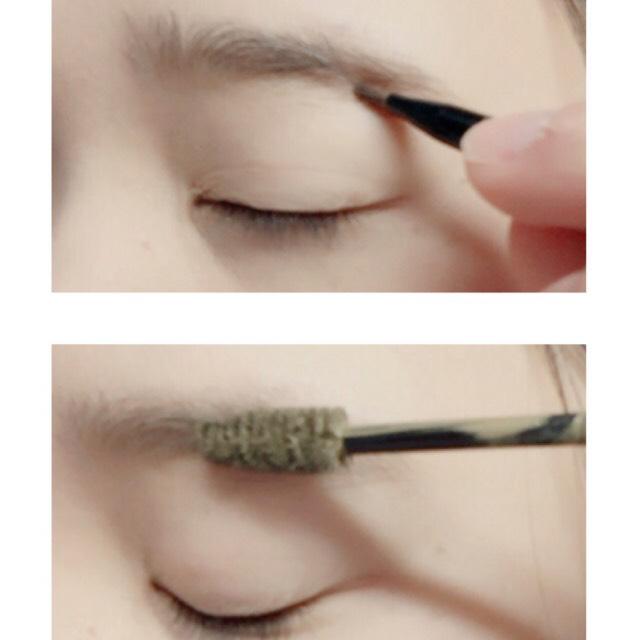 パウダーで眉毛の形を整えマスカラで色味を整えます! 今回は少し明るめにしました