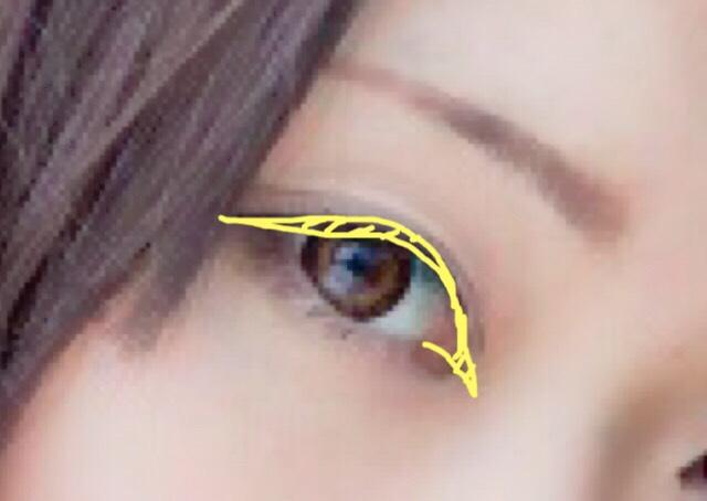 ラインは目の形に沿って、オーバーしないようにナチュラルに意識をしながら引いてください 切開ラインは目の形をはっきりさせてくれるので、撮影時はかかしません←