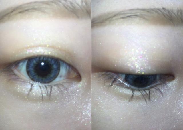 アイシャドウを瞼全体と目の下全体に塗ります。