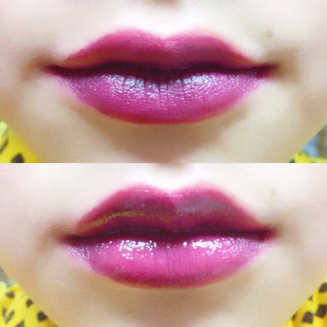 ① とにかく発色が良く綺麗に色がついてくれます。 カラー展開がとても多くピンクや赤もあり、コスパがかなりいいです! 上は塗っただけで下は透明グロスを塗っています!