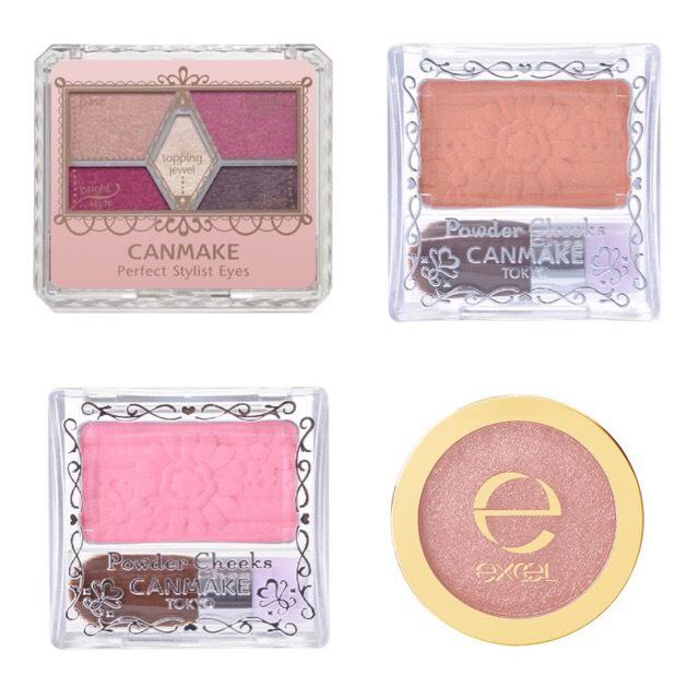 今回アイメイクに使ったアイテムです。 左上からCANMAKE パーフェクトスタイリストアイズNo.14、キャンメイクチーク オレンジ、ピンク、excel  シャイニーシャドウN ヌードピンク。